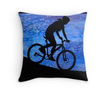 Three Mountain Bikers at Dusk Throw Pillow