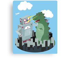 Robot vs. Godzilla Canvas Print