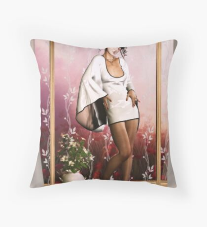 Lustrous Blossoms Throw Pillow