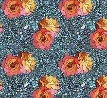 Stained glass style pattern with roses and leaves by monstreh