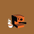 Trendy barrista Italian Coffee machine with a cup of coffee by jazzydevil