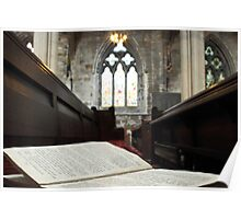 Hymn Book on Pew Poster