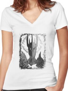 Two faces of Sauron Women's Fitted V-Neck T-Shirt
