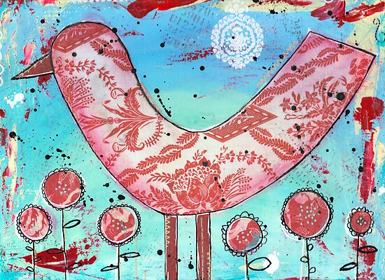 Red Bird - Mixed Media by Pip Gerard