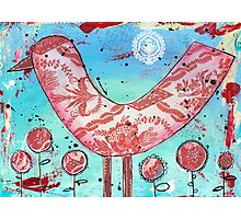 Red Bird - Mixed Media Photographic Print