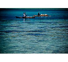Two fisherman on water in boats with outriggers, Vanuatu, South Pacific Ocean Photographic Print