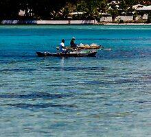 Two fisherman on water in boats with outriggers, Vanuatu, South Pacific Ocean by Sharpeyeimages