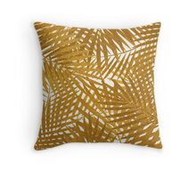 Gold Foil Palm Leaves Throw Pillow
