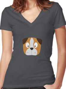 Cute Dog Face Women's Fitted V-Neck T-Shirt