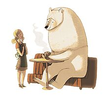 Polar Bear Coffee Break Photographic Print
