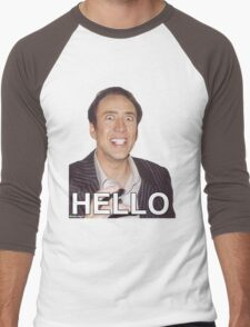 Nicolas Cage - HELLO Sticker Men's Baseball ¾ T-Shirt