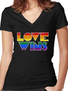 Love Wins Rainbow Gay Homosexual Lesbian Women's Fitted V-Neck T-Shirt