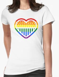 Rainbow Heart USA American Gay Homosexual Lesbian Womens Fitted T-Shirt