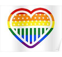 Rainbow Heart USA American Gay Homosexual Lesbian Poster