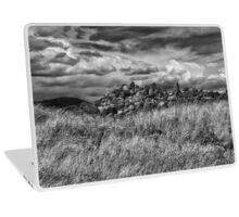 stones in a field with dramatic sky Laptop Skin