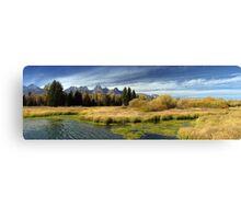 Golden Marsh Grasses, Teton Panorama Canvas Print