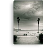 Street lamps on Lake Maggiore, Italy Canvas Print