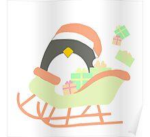 Penguin in Sleigh #1 Poster