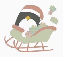 Penguin in Sleigh #1 One Piece - Short Sleeve