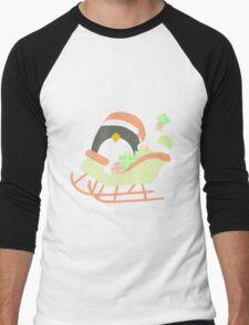 Penguin in Sleigh #1 Men's Baseball ¾ T-Shirt