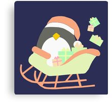 Penguin in Sleigh #2 Canvas Print