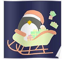 Penguin in Sleigh #2 Poster
