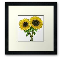 Sunflowers Pixel Framed Print