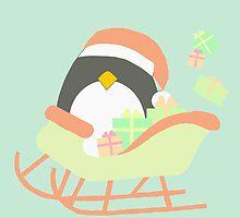 Penguin in Sleigh #4 by simplepaperplan