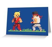 "Pixel Fighter ""Ken vs Ryu"" Greeting Card"
