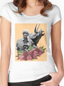 Ellie // Triceratops - Woman Inherits The Earth Women's Fitted Scoop T-Shirt