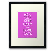 Keep Calm and Love Cats (Pink) Framed Print