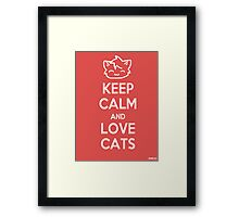 Keep Calm and Love Cats (Red) Framed Print