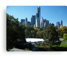 View of Central Park South Skyline,Wollman Rink, One57 Skyscraper, New York City Canvas Print