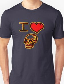 i love halloween skull on dark creepy night T-Shirt