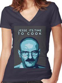 Walter White (Breaking Bad) - Cartoon Women's Fitted V-Neck T-Shirt