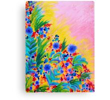 NATURAL ROMANCE in PINK - October Floral Garden Sweet Feminine Colorful Rainbow Flowers Painting Canvas Print