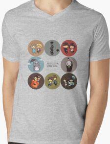 StudioGhibli Pins Mens V-Neck T-Shirt