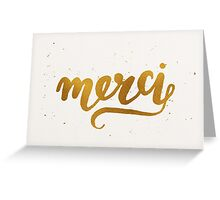 Gold Foil Hand Lettered Merci Greeting Card