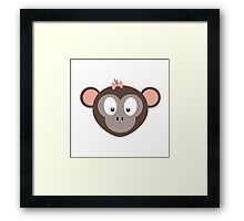 Monkey with pink ribbon Framed Print