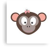 Monkey with pink ribbon Canvas Print