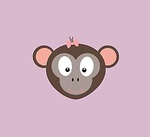 Monkey with pink ribbon by ilovecotton