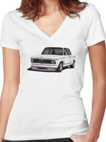 BMW 2002 Turbo (E20) white illustration Women's Fitted V-Neck T-Shirt