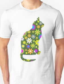 Cat Silhouette, Flowers - Green White Pink Orange  T-Shirt