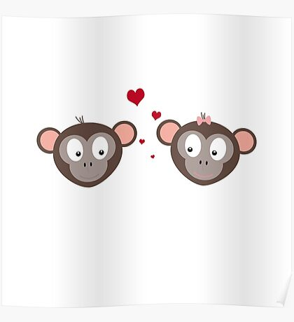 Monkey couple in love Poster