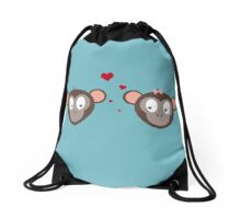 Monkey couple in love Drawstring Bag