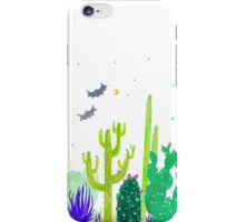 Green Cacti Watercolour & Bats iPhone Case/Skin