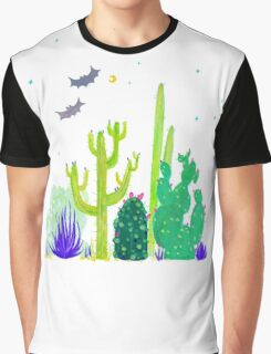Green Cacti Watercolour & Bats Graphic T-Shirt