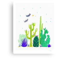 Green Cacti Watercolour & Bats Canvas Print