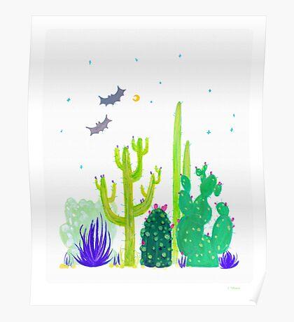 Green Cacti Watercolour & Bats Poster