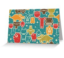 Robots on blue. Greeting Card